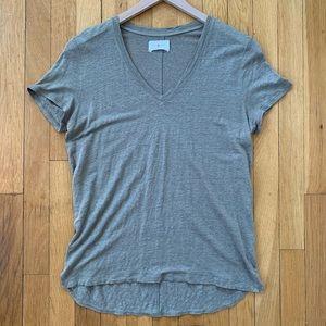 Lou & Grey Linen Short Sleeve V-neck Tee Small